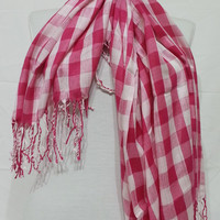Pink and White Men's and Women's Scarf -Pink and White Scarf - Pink and White Soft Cotton Scarf - KR1411056