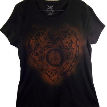 Heart Chain Peace Sign T Shirt, Scoop Neck, Acid Bleached Wash Tie Dye Size XXL Plus Size, Large Womens Black With Golden Effects (A112)