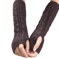 Good-looking 2015 New Solid Color Long Mitten Gloves Women Knitted Fingerless Winter Gloves Solid Color FunS29