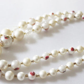 Double Strand Pearl Necklace Costume Jewelry Vintage Necklace Faux Ivory Pearls White Pearl Necklace Beaded Necklace Pearls Drop Necklace