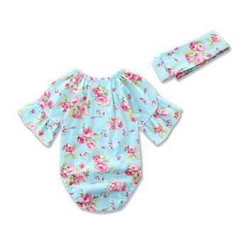 2pcs/Set Newborn Infant Baby Girl Floral Short Sleeveless Romper Jumpsuit + Headband sun-suit Outfits Sun-suit Clothes