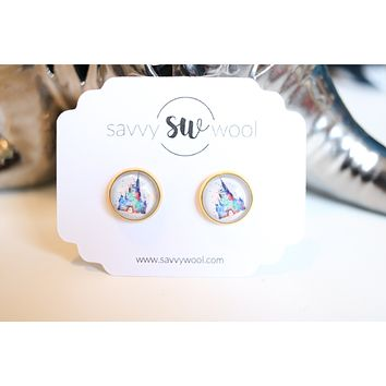 12MM Druzy Earrings - Disney Castle