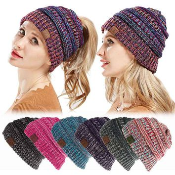 Women cc Ponytail Beanie Lady Messy Bun Beanie Woman Ponytail Hat Winter Cap Knitted Warm Holey Hats Mix Color Skullies Beanies
