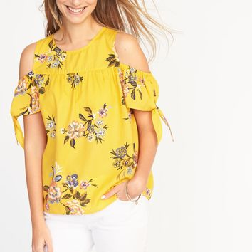 Cold-Shoulder Tie-Sleeve Top for Women | Old Navy