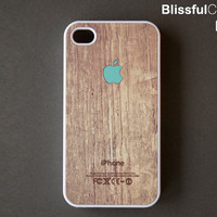 iphone 4 case Apple logo on wood print mint by BlissfulCASE