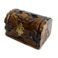 Old hand carved wooden PIRATE TREASURE CHEST ornate metal latch 2 hinges - Nautical jewelry case & rustic trinkets box