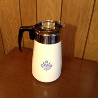 Corning Ware 9 Cup Coffee Pot - Perculator - Blue Cornflower Pattern - Complete and Excellent Condition