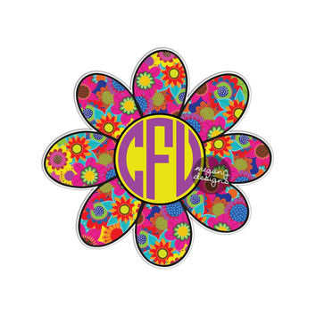 Custom Flower Monogram Sticker - Colorful Floral Car Decal Vinyl Bumper Sticker Initials Daisy Hippie Boho Flowers 70s Retro Art Car Decal
