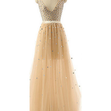 Deep V-neck Beaded Modest Long Prom Evening Dresses 15