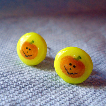 Pumpkin Earrings, Jack O Lantern Jewelry, Mini Pumpkin Earrings, Orange Studs, Yellow Studs, Halloween Earrings, Halloween Studs