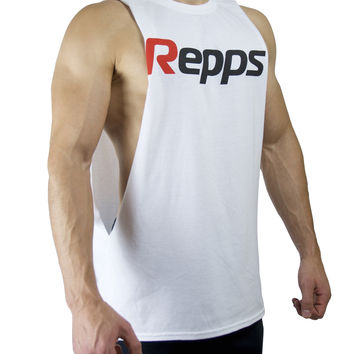 Repps Cut off Muscle Tank Top Shirt for Men - White