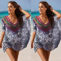 Sexy Zebra-Stripe Printed Bikini Beach Cover Up Dress