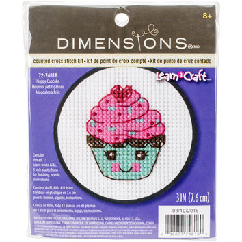 """NEW! Learn-A-Craft Happy Cupcake Counted Cross Stitch Kit-3"""""""" Round 11 Count"""