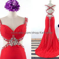 Sexy Long Prom Dresses, Straps with Crystal Long Red Prom Gown, Sweetheart Mermaid Formal Dresses