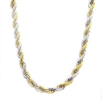 ON SALE - Two Tone Twisted Stainless Steel Rope Chain