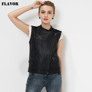 Women's Real leather jacket motorcycle Genuine Leather waistcoat leather vest