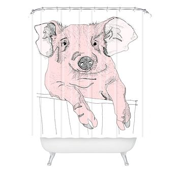 Casey Rogers Piggywig Shower Curtain