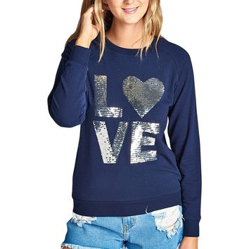 LOVE print fleece knit pullover sweatshirt