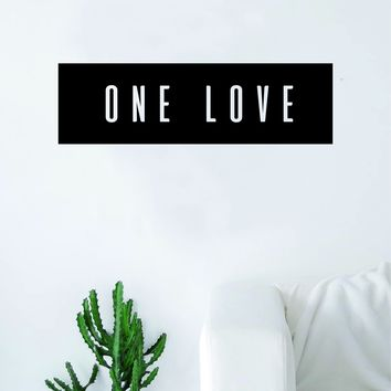 One Love Rectangle Wall Decal Sticker Vinyl Art Bedroom Living Room Decor Quote Bob Marley Reggae Rasta Music
