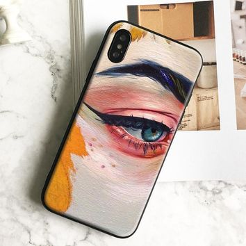 Oil painting eyes Art aesthetic TPU soft silicone Phone Case cover Shell For Apple iPhone 5 5s Se 6 6s 7 8 Plus X XR XS MAX