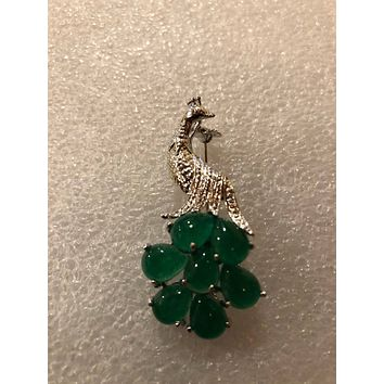 Vintage Green Jade peacock feather Brooch Pin