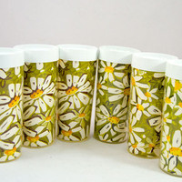 Vintage Set of 6 West Bend Thermo Tumblers - Daisy Flower Plastic Cups - Hot and Cold