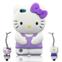 I Need 3D Lovely Purple Hello Kitty Soft Silicone Case Cover Compatible for Ipod Touch 5 /5g/5th Generation