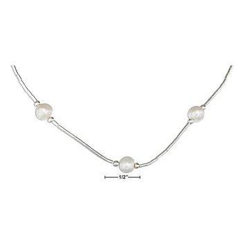 "STERLING SILVER 16"" LIQUID SILVER AND WHITE FRESH WATER CULTURED PEARLS NECKLACE"