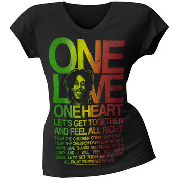 Bob Marley - One Love Lyrics V-Neck Juniors T-Shirt
