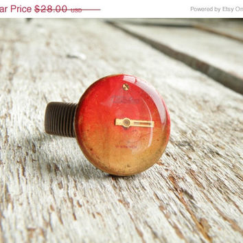 SALE FREE SHIPPING  Steampunk Ring. Watch Face ring, copper unisex wire wrap ring. Gift for him. Slava Ussr Watch. Red steampunk jewelry