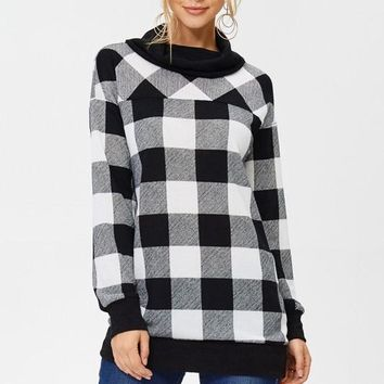 Buffalo Plaid Tunic Top - Black and White