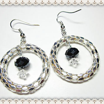 Silver Serpentine Earrings~Silver Beaded Earrings With Mirrored Serpentine Hoop And Facet Beads~Women's Silver Beaded Earring Hoop