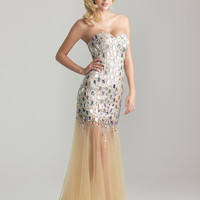 Nude Sequin & Tulle Strapless Drop Waist Prom Dress - Unique Vintage - Cocktail, Pinup, Holiday & Prom Dresses.