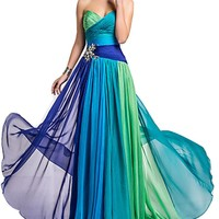 Chiffon Long Colorful Evening Bridesmaid dress Prom Formal Party Dress Gown (Tag12  US8, Blue)