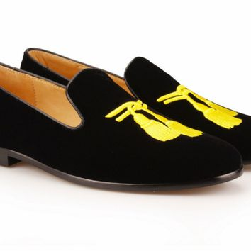 Black Embroidered Tassel Velvet Loafers