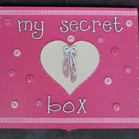 My secret box wooden storage memory box for girls with ballerina theme lid