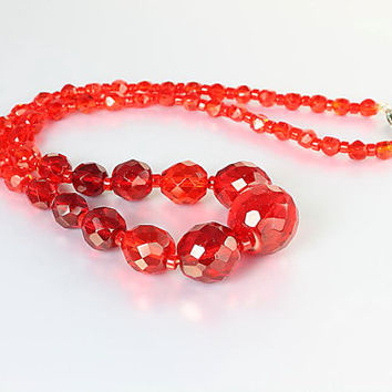 Czech Red crystal Necklace. Art Deco Necklace 1920s jewelry. 17 inch Bead Necklace