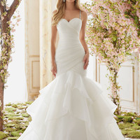 Crystal Beaded Straps on Organza Wedding Dress | Style 6833 | Morilee