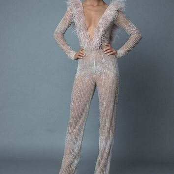 Dancing Queen Sequins and Feathers  Jumpsuit