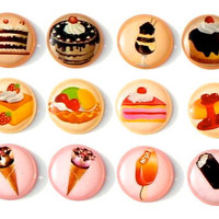 Yummy Delight Desserts - 12 Pieces 3D Semi-circular Home Button iPhone iPad Decals Stickers