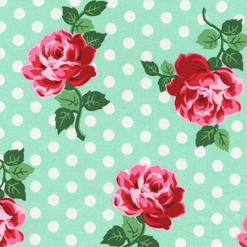 Retro Floral in Aqua Fabric by the Yard   100% Cotton
