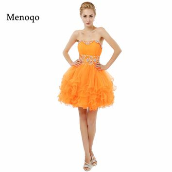 2017 New Arrival Real Model Orange Ball gown Beaded Tulle Knee length Homecoming dresses Real Photo Prom Dresses Short 2017