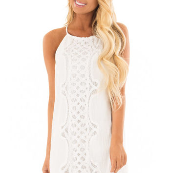 White Spaghetti Strap Dress with Lace Contrast