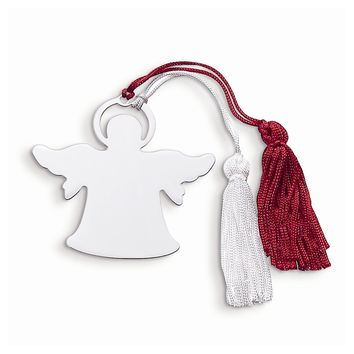 Nickel-plated Angel Ornament with Red/White Tassels - Engravable Christmas Gift
