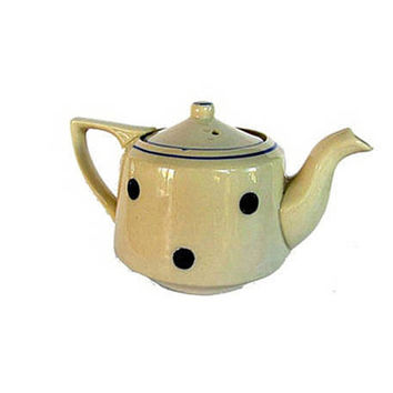French vintage decor. Blue polka dot. Polka dot decoration. French ceramic. French pottery. White teapot. Blue white polka dot. Unique shape