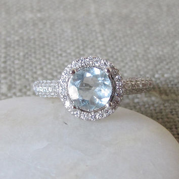 Aquamarine Wedding Engagement Ring- Silver Halo Ring- Promise Ring- Birthstone Ring- Gemstone Ring- Bridal Wedding Ring- Double Band Ring
