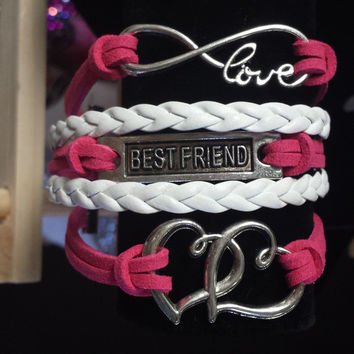 Pink & White/Infinity Love/Best Friend/Hearts Bracelet