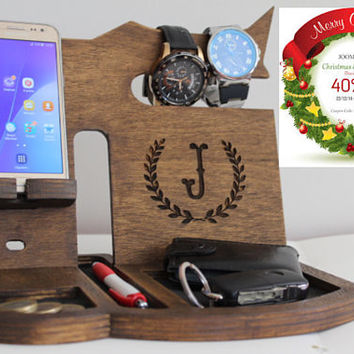 Nightstand desk organizer,iwatch organizer night stand, wood phone stand, iphone iwatch stand, wood phone stand, phone watch dock