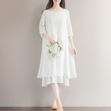 Mori Girl Bohemian Hippie Boho Preppy Style White Crochet Embroidery Floral Long Sleeveless Cotton Linen Women Spring Dress