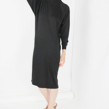 black long sleeve sweater dress minimalist clothing midi dress jersey knit MEDIUM MED M